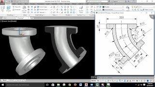 AutoCAD 3D Exercises Tutorials / Basics & Advance/ Pipe Bend 45° / Mechanical Part Model -1