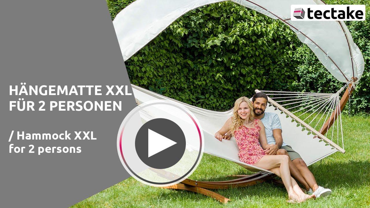 h ngematte f r 2 personen holzgestell und dach tectake youtube. Black Bedroom Furniture Sets. Home Design Ideas