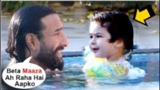Saif Ali Khan TEACHING Son Taimur Ali Khan To Swimming Is The CUTEST Thing You'll See Today