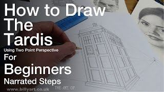 How To Draw the Tardis using Two Point Perspective for Beginners