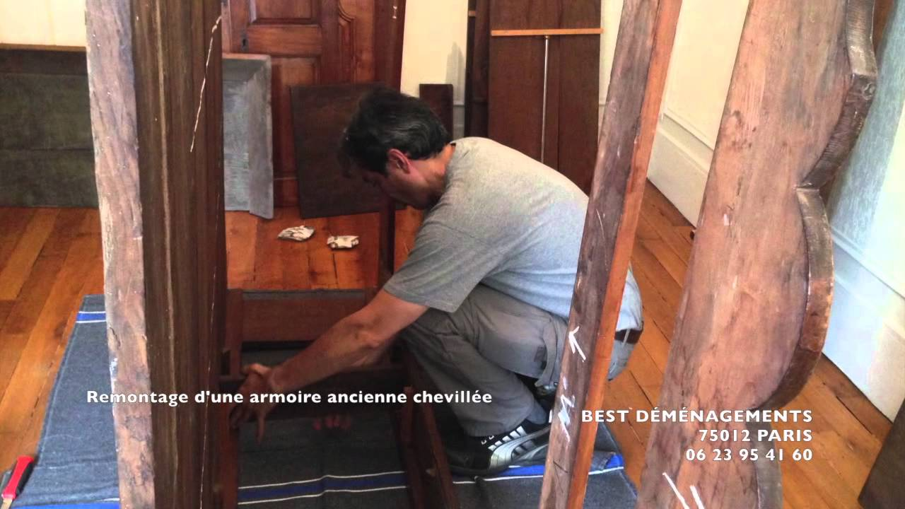 best d m nagements paris remontage d 39 une armoire ancienne chevill e youtube. Black Bedroom Furniture Sets. Home Design Ideas