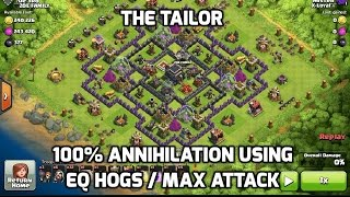 3 Star Obliterate The Tailor TH9 base with EQ GoHo / Max Attack Hogs, clash of clans war practice