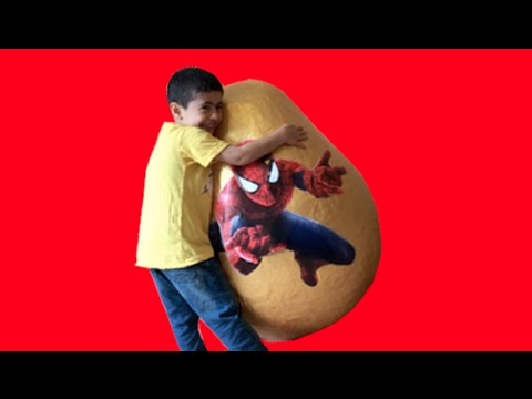 Super Giant Golden Surprise Egg - Spiderman Egg Toys Opening  3 Kinder Surprise Eggs Unboxing