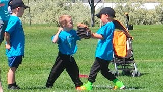 👊HILARIOUS FIGHT AT TEE BALL GAME!⚾️