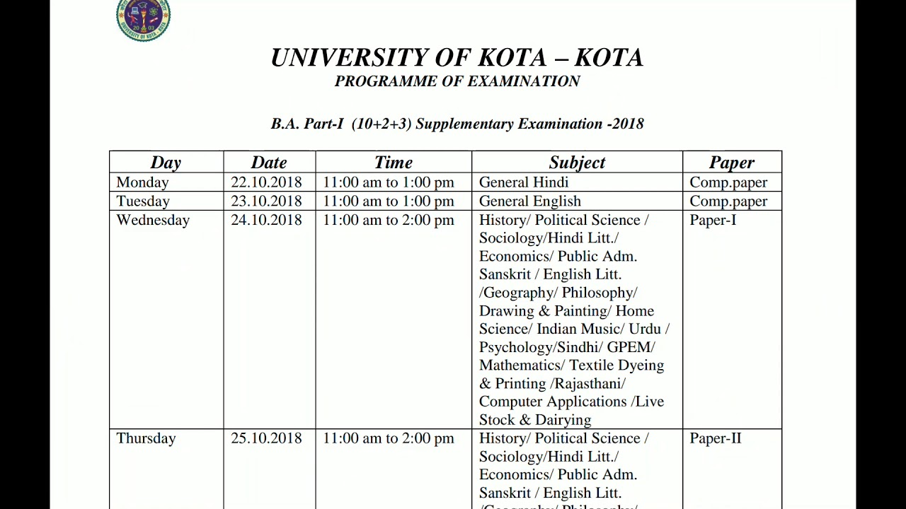B A | B COM | B SC | Supplementary exam date 2018 | University of Kota |  1st,2nd,3rd year |
