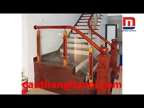 Cầu thang kính - Cầu thang kính - Mẫu cầu thang kính chân trụ hợp kim nhôm giá tốt nhất thị trường