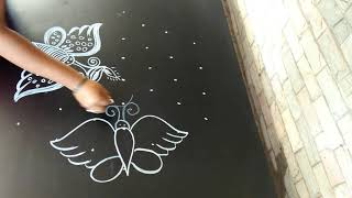 Simple rangoli..dewali special rangoli...butterflies..7 to 4 dots..