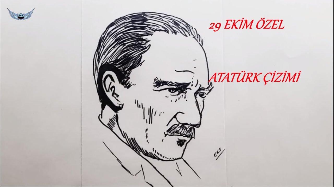 Kolay Ataturk Resmi Nasil Cizilir 1 29 Ekim Bayram Ozel Cizim
