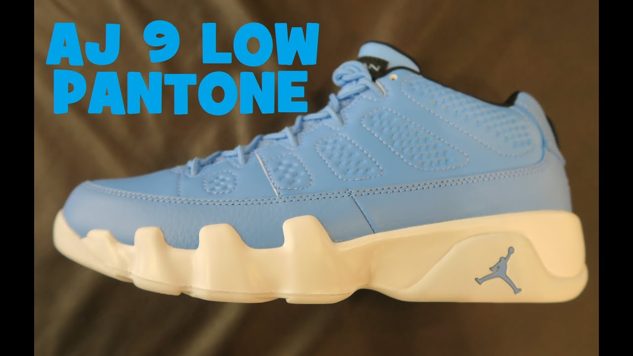 wholesale dealer 090c1 5c4b7 ... spain air jordan 9 low pantone university blue sneaker detailed look  dc40b c3183