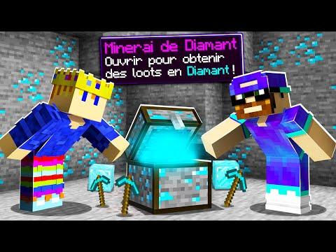 Minecraft MAIS les minerais sont des coffres cheaté ! (ft. @Multicort )