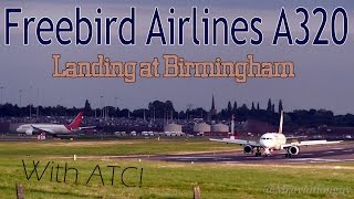 Freebird Airlines Airbus A320 TC-FBH Beautiful Sunset Landing at Birmingham Airport (BHX/EGBB) + ATC