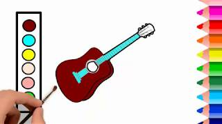 Guitar Coloring Pages | How to draw a Guitar with Coloring Pages - Learn Colors for Kids