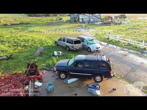 4-14-2019 Hamilton, Ms Tornado damage from drone, roofs gone, homes missing, fire department gone