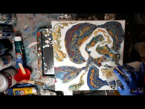 Acrylic Pouring - Negative Space with Dimethicone and Torchi