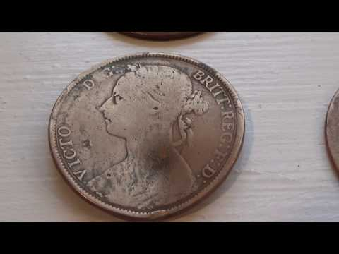 5 Very Old 1800 Victoria Big Penny Coins