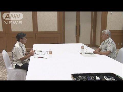 普天間移設問題は平行線 防衛大臣・名護市長会談(15/08/16)