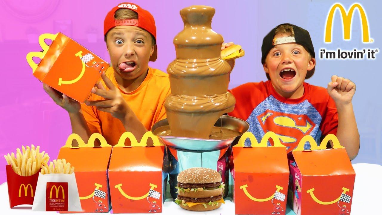 Chocolate Fountain Challenge Mcdonalds Food Fondue Play Activities For Children