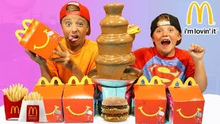 Chocolate Fountain Challenge McDonald's Food Fondue Play Activities for Children