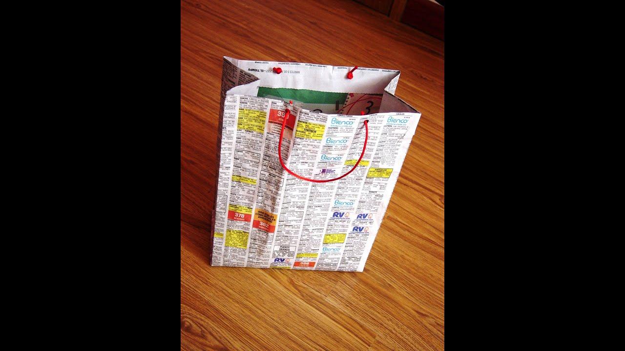 Bolsas para regalo en papel periodico youtube - Hacer bolsas de papel en casa ...