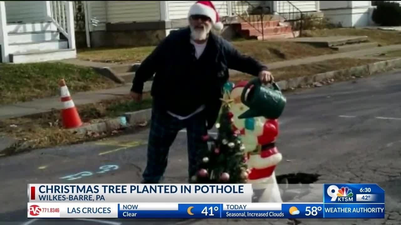 Pa Town Sticks Christmas Tree In Pothole