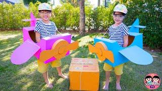 หนูยิ้มหนูแย้ม   เล่นเครื่องบินกล่องกระดาษ ส่งพัสดุไปรษณีย์ Kids Activities