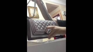 Chanel boy burgundy - opening the box first time after buying in Chanel KLCC, Malaysia