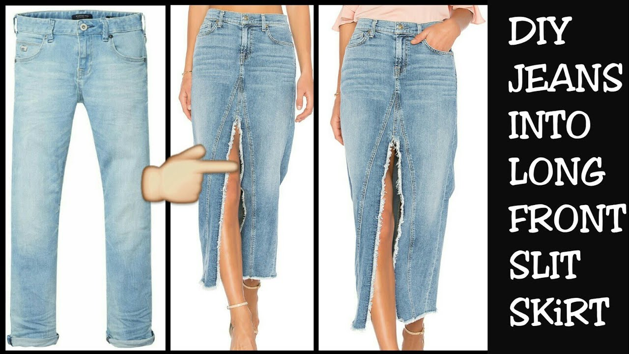 5ddb43056 DIY CONVERT OLD JEANS INTO FRONT SLIT LONG SKIRT IN 10 MINUTES ...