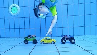 Diving down for VW Bug Toy Car & Hot Wheels | Pretend Play with Cars | Swimming Underwater