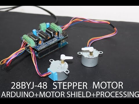 28BYJ-48 Stepper Motor + Arduino + L293D Motor Shield + Processing Setup Test Run