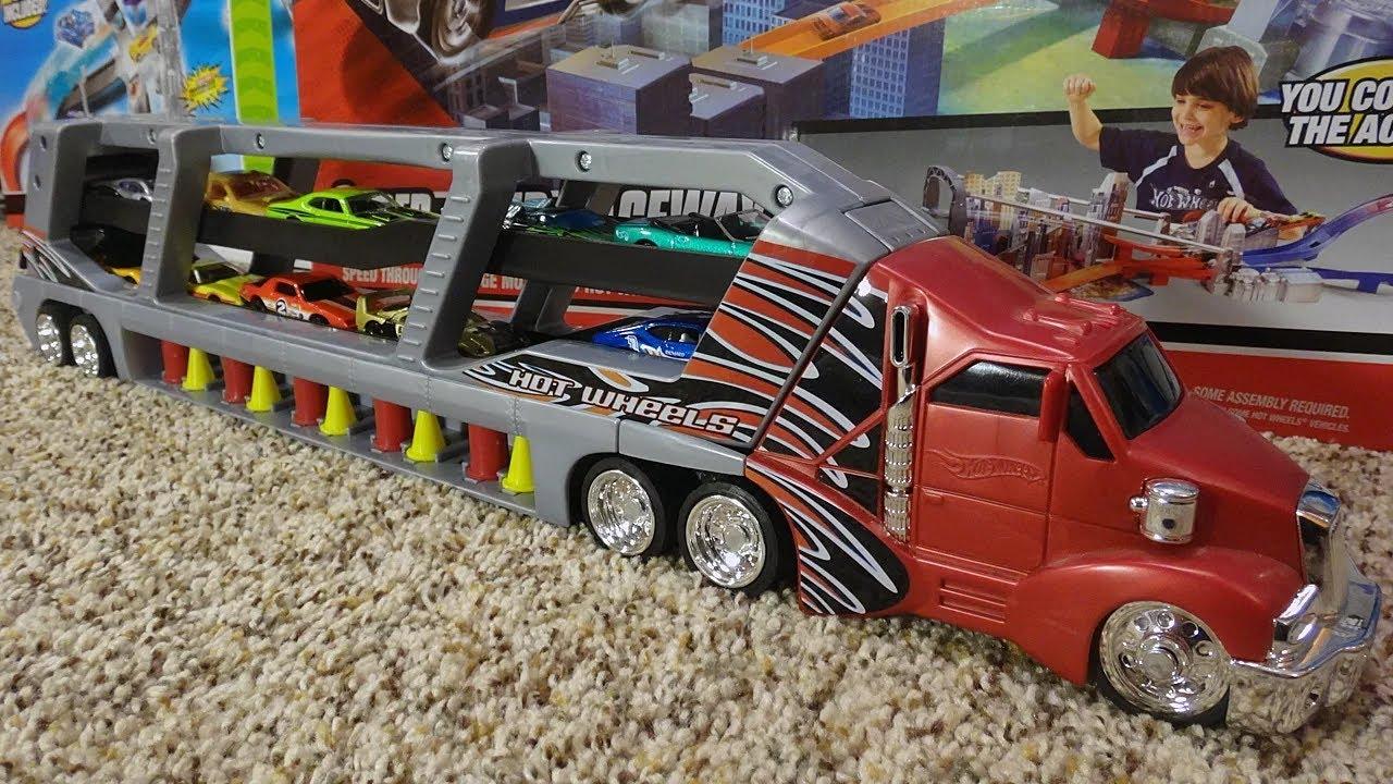 hot wheels supermax transporter giant semi truck car loader toy rh youtube com hot wheels car carrier semi truck hot wheels car carrier target