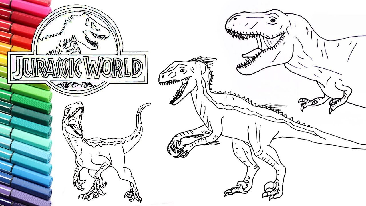 drawing and coloring jurassic world dinosaurs collection