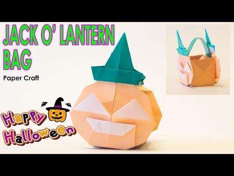 Paper Craft Origami - How to make a Jack O' Lantern Bag ~DIY tutorial~