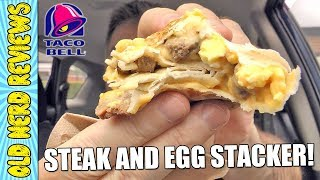 Taco Bell Steak And Egg Stacker REVIEW 🌮🔔🥩🥚