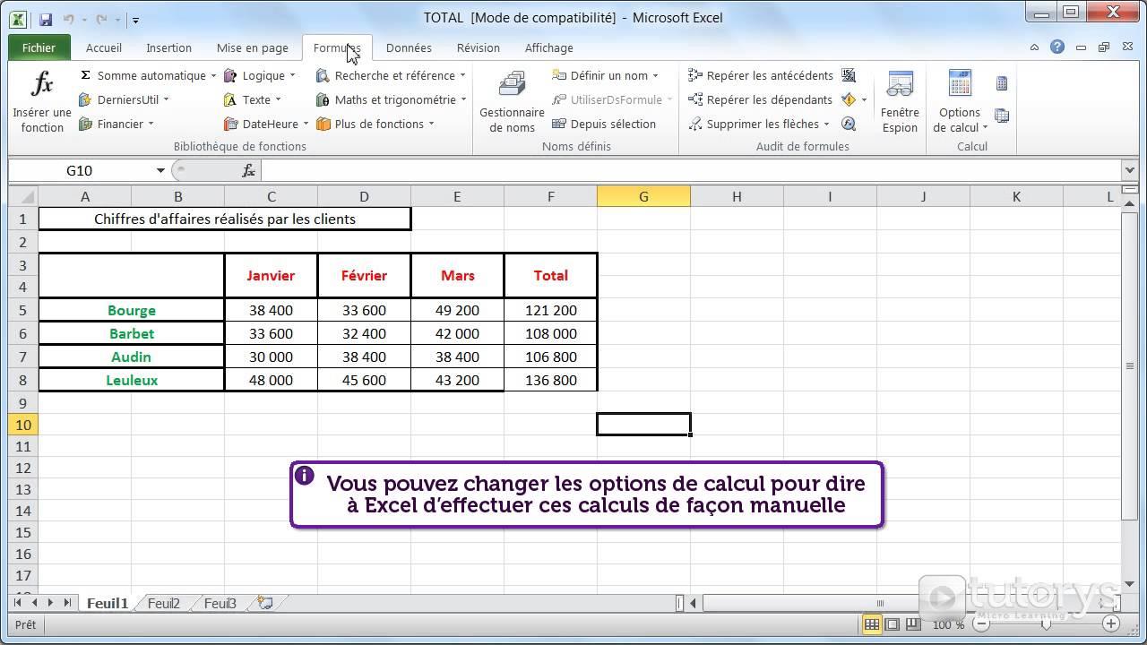 Comment utiliser les options de calcul avec Excel 2010 ? - YouTube