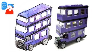 how to draw triple decker bus with lego Harry Potter bus 4866