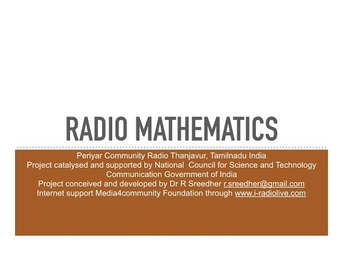 NCSTC Radio Mathematics Peiryar Community Radio Tamil  080
