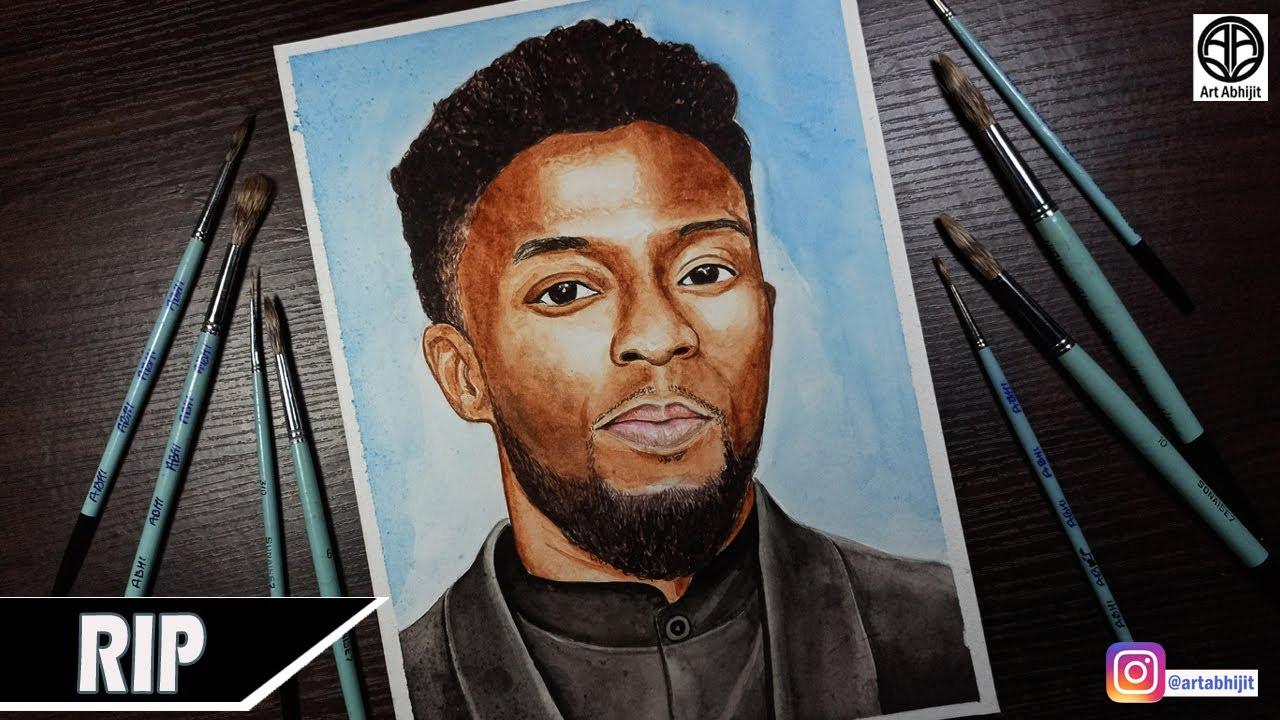 Tribute To Chadwick Boseman How To Draw Chadwick Boseman Black Panther Painting Rip Youtube