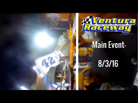 California Lightning Sprint Crash at Ventura Raceway -Main Event- 8/3/16