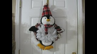 How to make Carmen's Ribbon Penguin Wreath!