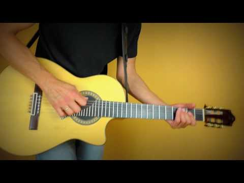 The crazy side of a flamenco nylon string guitar (AER Alpha Amp)