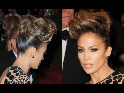 Jennifer Lopez Hair Up Styles Cool Pompadour Hair Tutorial  How To Get Jennifer Lopez's Updo .