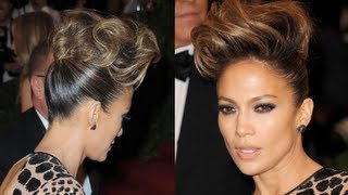 pompadour hair tutorial   how to get jennifer lopez s updo hairstyle at the 2013 met ball
