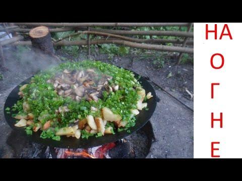 Жарим грибы и картошку на костре Готовим на природе Fry the mushrooms and potatoes on the fire без регистрации и смс