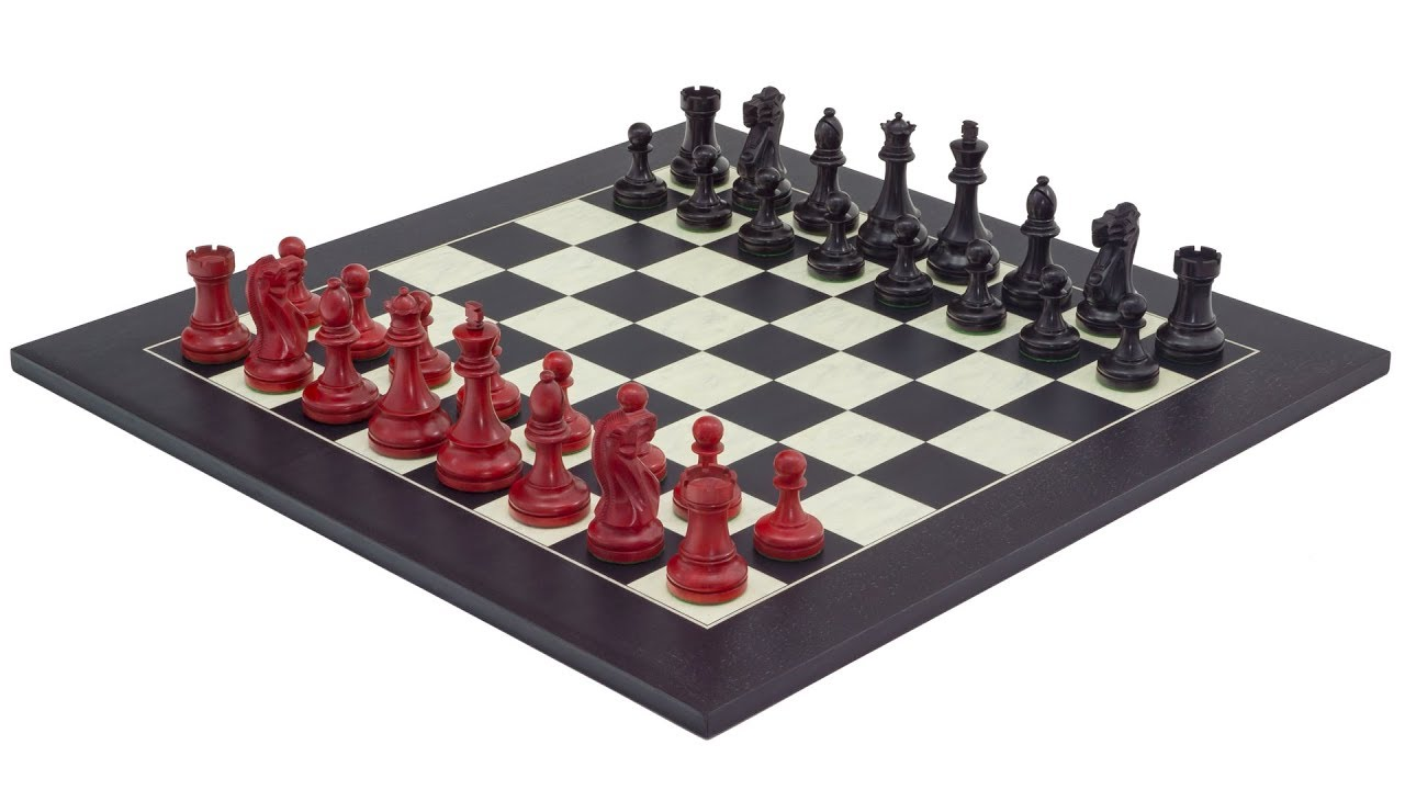 The Red And Black Broadbase Chess Set