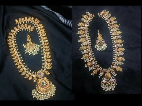 Latest Gold Antique Long Haram Designs in 50Grams