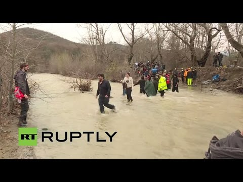 LIVE from Chamilo as refugees attempt to cross river on Greek-Macedonian border
