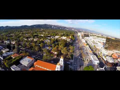 DJi phantom 2 flight DRONE over beverly hills Los Angeles CA