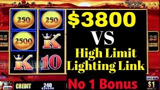 $3800 Live Play On High Limit Lightning Link Slot w/ $25-$75 Bet | BAD SIDE OF SLOTS | NO ONE BONUS