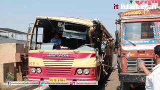 KSRTC bus crashes in to trailer at Kalamasserry