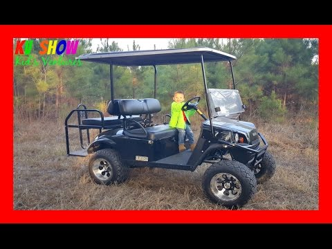 4 Year Old Kid Driving A Gas-Powered Lifted Golf Cart! Fun For The Kids!